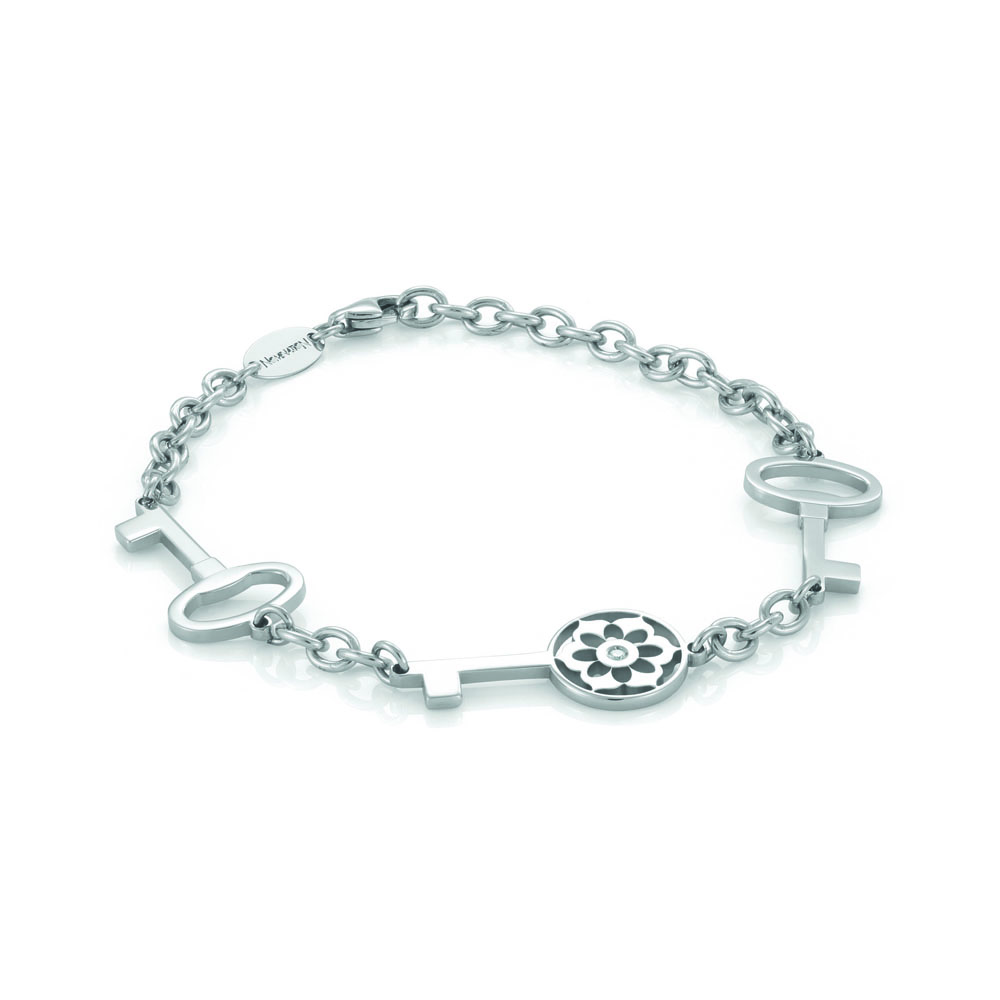 Nomination SECRETS Chain Bracelet in Stainless Steel and Zirconia with 3 Keys Decoration
