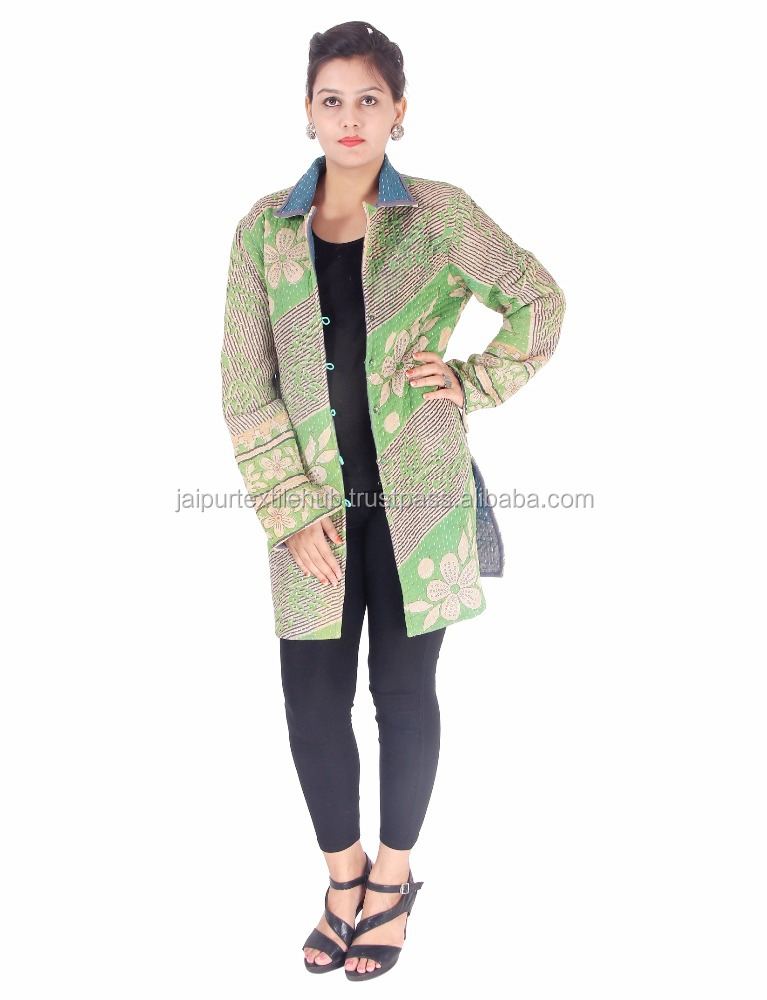 Vintage Handmade Reversible Kantha Jackets Womens Coat From India