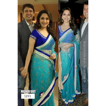 Whole sale Ethnic Indian Latest Sky blue Bollywood Designer Sari Party Wear dress
