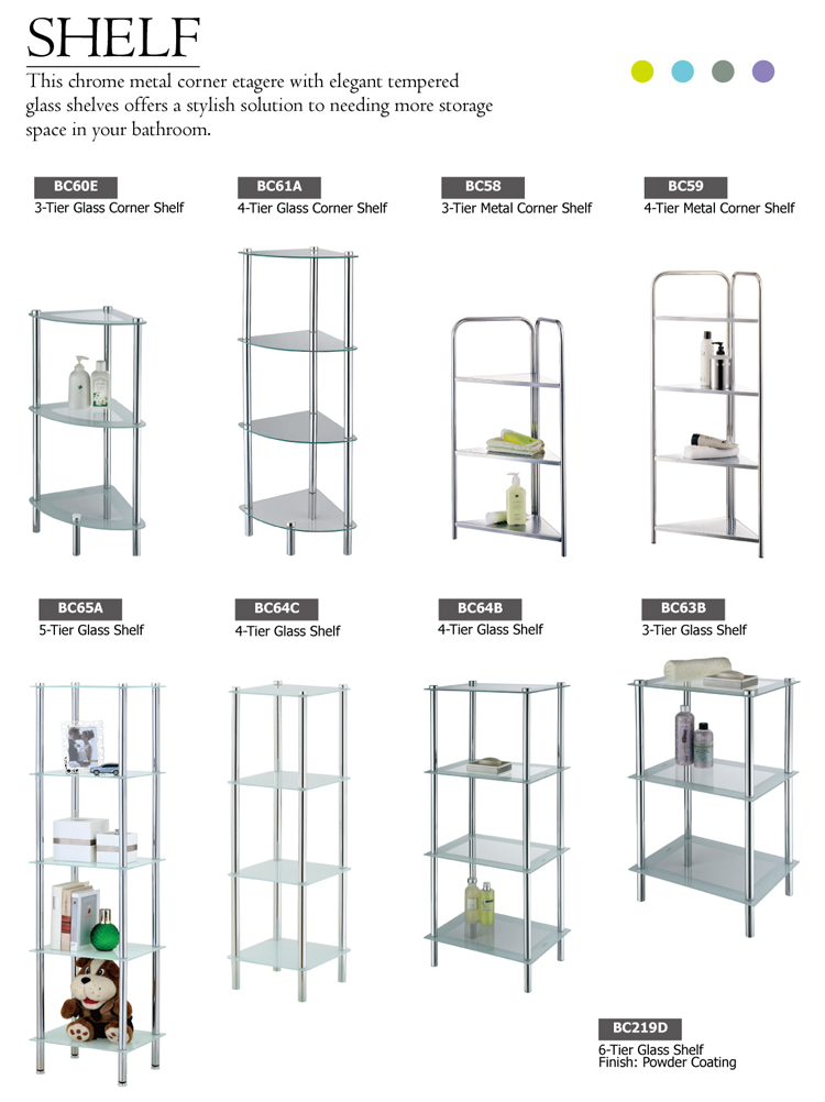 Bathroom glass metal warehouse storage rack