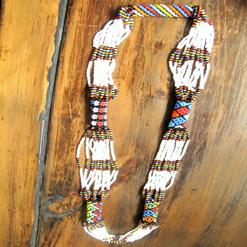 Beaded White Multicolored Necklace