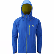 Breathable soft shell jacket with detached hood and fast zippered