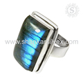 Flashy labradorite gemstone ring handmade 925 sterling silver rings jewelry manufacturing