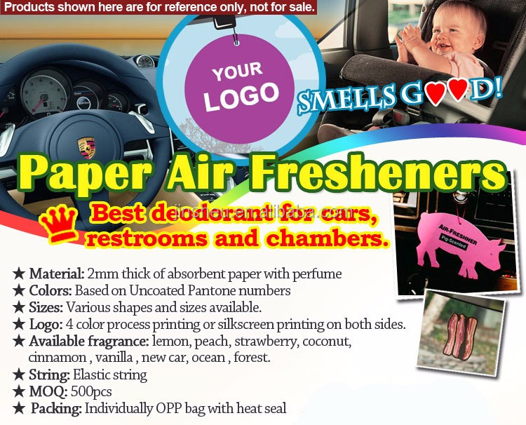 Custom Made Cheap Cotton Air Freshener Car Hanging Scented Paper