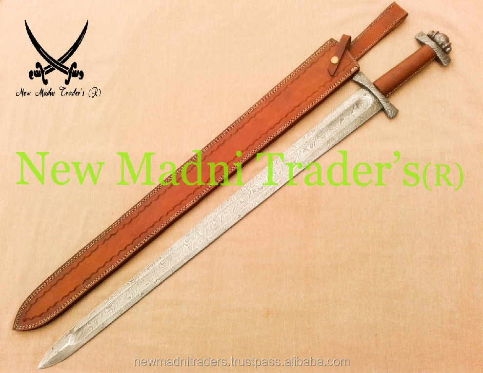 "38"" DAMASCUS CROSS XXXX SEW LEATHER HANDLE VIKING SWORD"