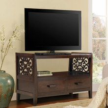 Console TV stand dark colour teak wood, wooden solid tv stand from Indonesia Export Quality