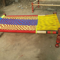 Pakistani Wooden Charpai Fancy Colorful Village Charpai, charpoy handwoven Palang Bed, Traditional Designer Charpai, Manji