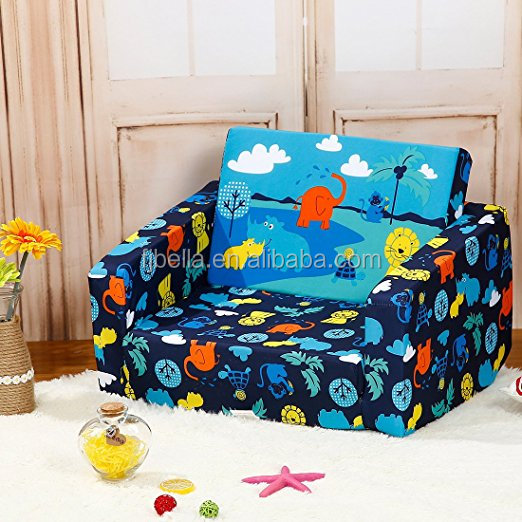 Children's 2 in 1 Flip Open Foam Sofa Children's Sofa Bed Baby's Upholstered Couch Sleepover Chair Flipout O