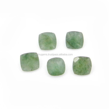 Green aventurine semi precious 7x7mm cushion Checkerboard cut 1.40 cts loose gemstone for jewelry