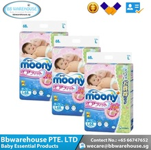 Premium Quality Best Seller Printed Moony Air Fit Tape Baby Diaper L68 x 3 packs (Giant pack deal)