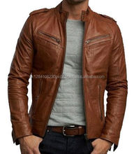 Good Quality Wholesale Low Price Fashion Brown Leather Jacket Manufacturers