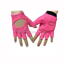 Woman Breathable Lycra Half Finger Gloves Girl Short Fingerless Non-slip PU Leather Gloves for Yoga Pilates Cycling Gym Fitness