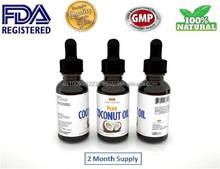 100% Pure MCT Coconut Oil Drops High Quality Cocos Nucifera Diet Organic FDA Registered, Made in USA, GMP Factory MCT Pressed
