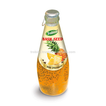 Glass bottle 290ML Basil seed fruit juice drink with Pineapple