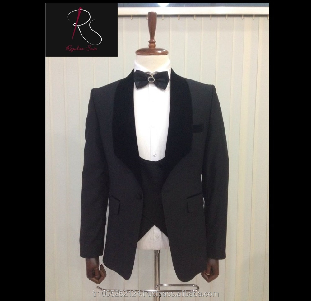 Custom Made High Quality Velvet Lapel Black Wedding Suit Tuxedo
