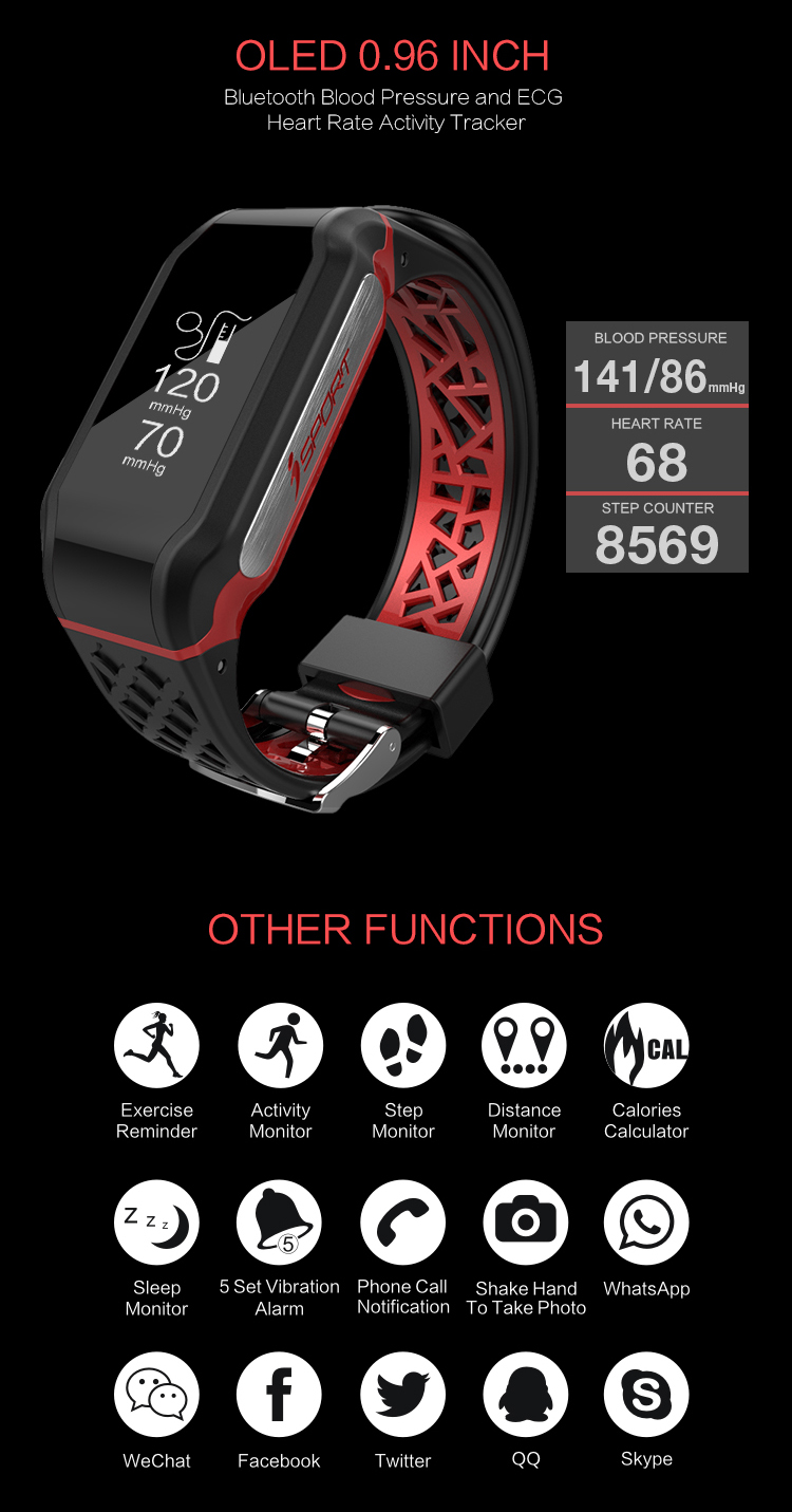 PPG ECG smart watch Fitness Tracker Bracelet ,Smart heart rate monitor watch with blood pressure monitors