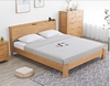 Papular Nordic Style Bedroom Furniture King Size Bed Solid Oak Wood Bed With Socket