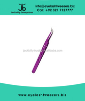 Eyelash Extension Tweezers, Strong Curved Tweezer With Holes Dark Purple Color Finish