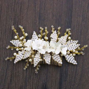 AP40032 Personalized Bridal Rhinestone Headpiece Flower Side Hair Comb Wedding Accessory