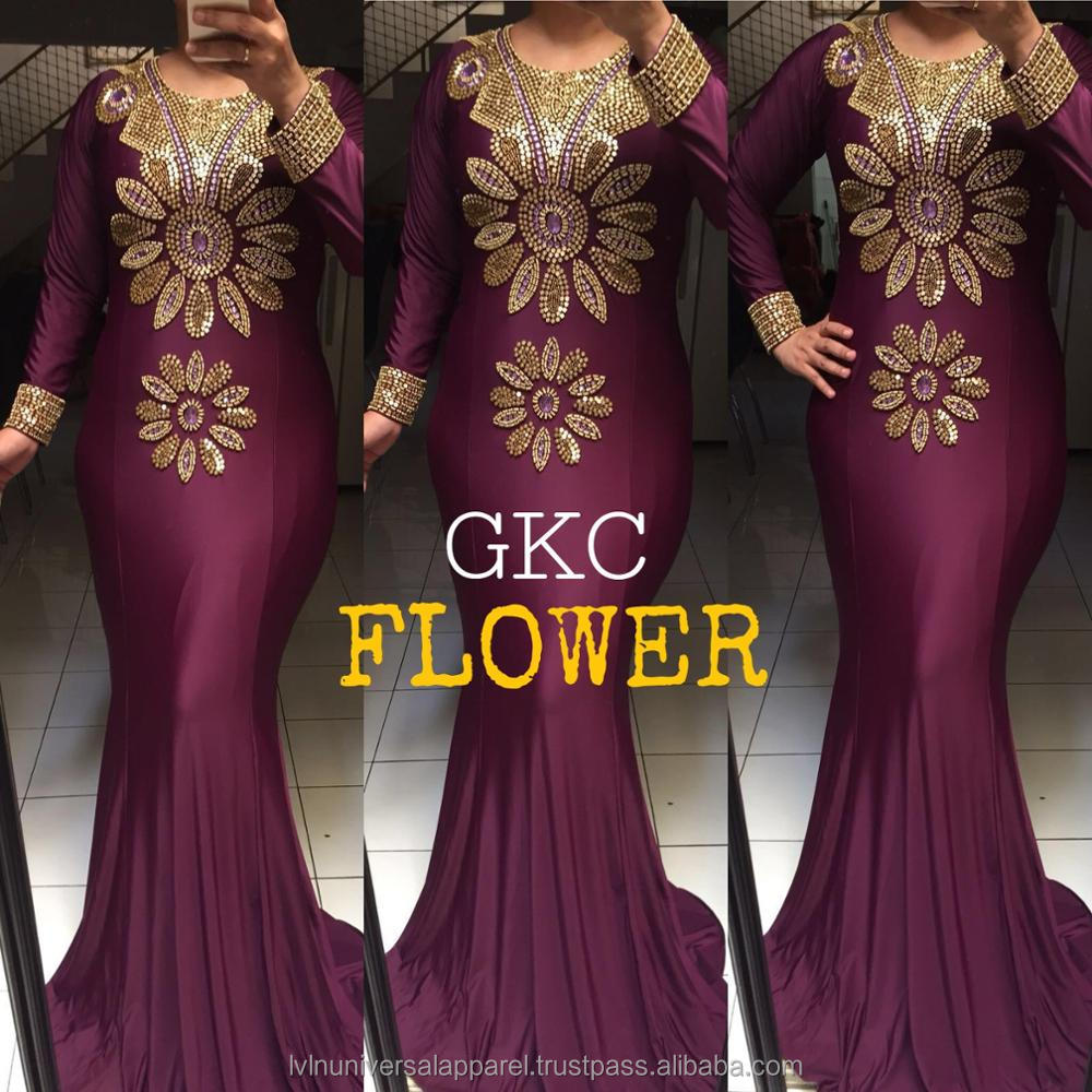 Flower Mermaid Kaftan Gold Beads Spandex Islamic Clothing Indonesia Supplier