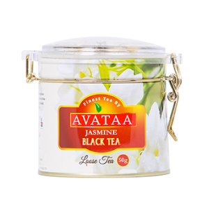Avataa Jasmine Black Tea: High Grown Ceylon Tea with Dehydrated Jasmine Flowers (50 Gram/25 Cups)