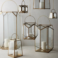 Brass Clear Glass Hanging Window Pane Lanterns