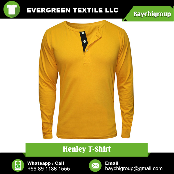 Long Sleeve/Short Sleeve Men's Henley T Shirt for Bulk Purchase