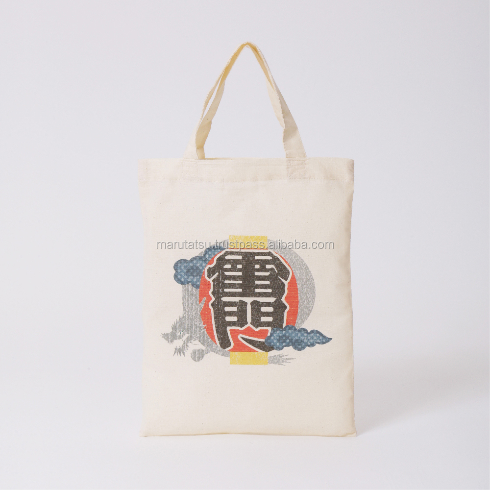 "TOKYO PRINTED ""ASAKUSA'' Japanese traditional design 100% Cotton Casual Shopping Shoulder convention tote bag."