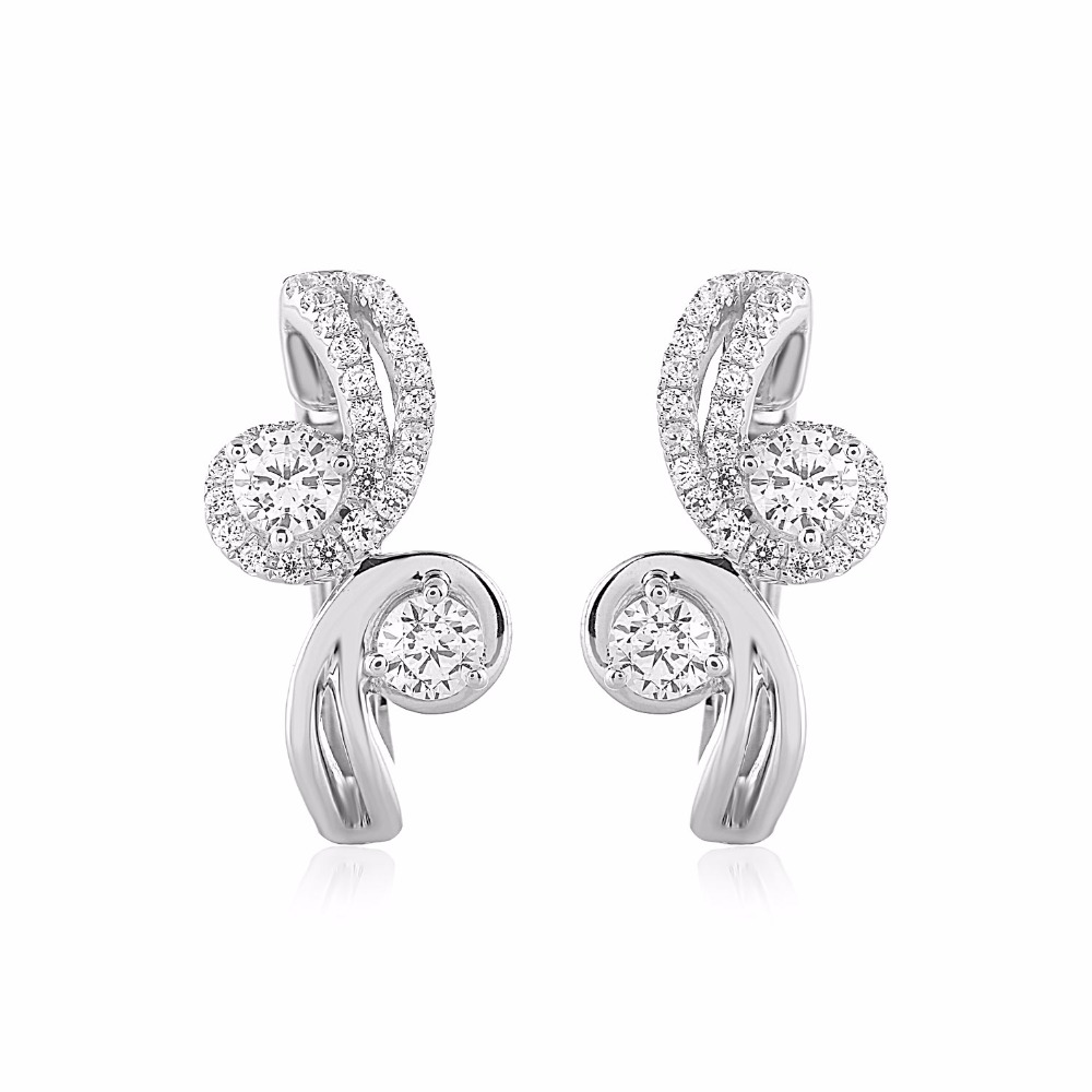 Certified 0.90 Ct. Forever Us Two Stone Natural Diamond Swirl Hoop Earrings .925 Solid Sterling Silver