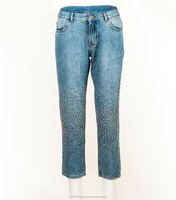Trendy Women Boyfriend Jeans with Metal Beads - 1st Quality Bulk Wholesale In Stock Jeans - 1269