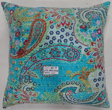 indian traditional cotton kantha design beautiful Paisley printed pillow cushion cover
