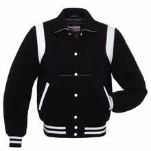 Leather/ Wool Letterman College Varsity Retro Jacket - Black/ White