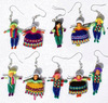 Indian Dolls Earrings Ethnic Peruvian Men and Women Tribal Handmade Wool Jewelry Wholesale