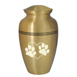 3 Band Golden Large Pet Cremation Urn with White Paw