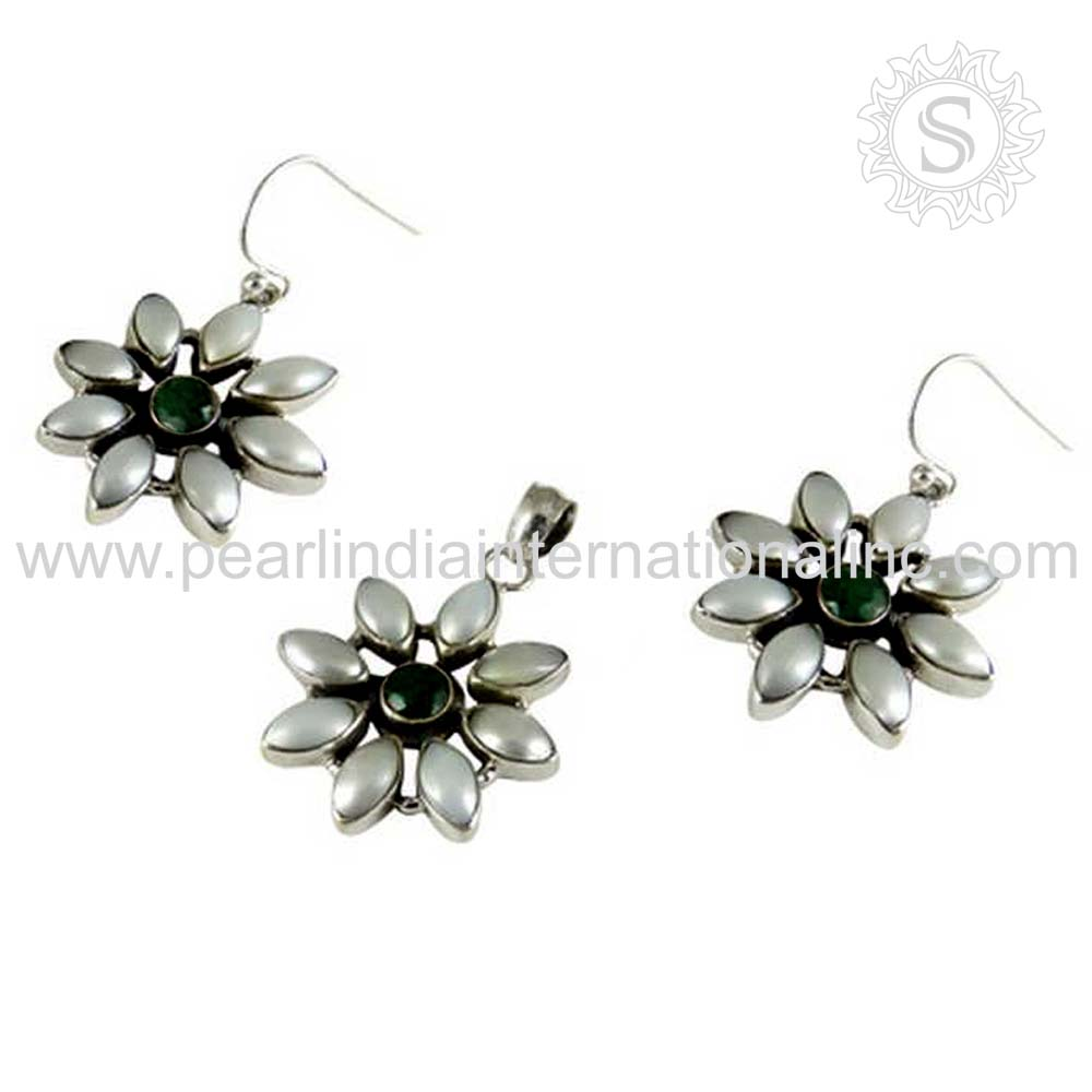 Professional flower design pearl, emerald gemstone jewelry set 925 sterling silver jewelry set handmade jewelry set