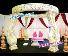 Designer Fiber Peacock Mandap Indian Wedding/Pearl White Peacock Pillars Mandap Set/ Latest design Wedding Mandaps Manufacturer