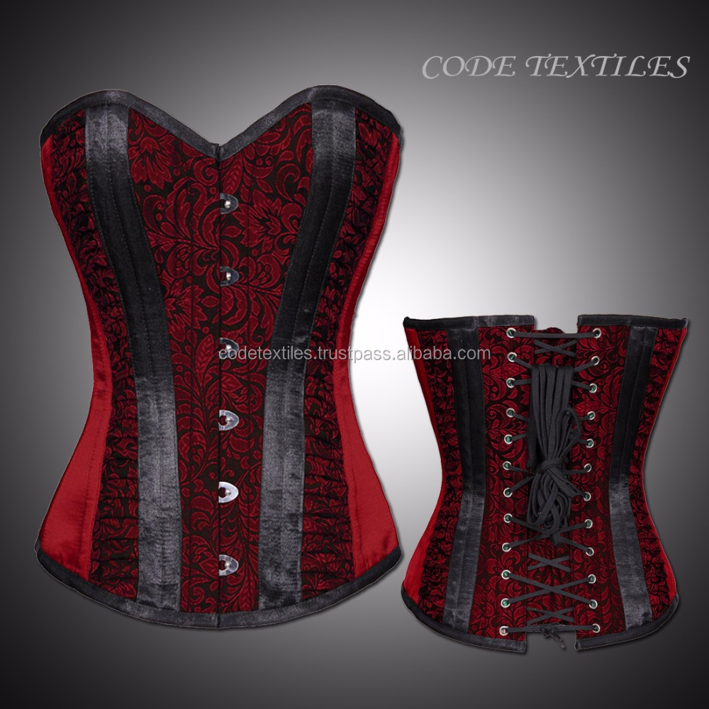 2017 Corset Elegant Sweet Heart Overbust Shape Red black Brocade Authentic steel Boned corset Supplier