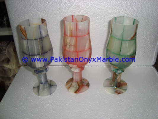 WHOLESALE ONYX SHOT GLASS SET MINI GLASSES GOBLETS PATCH WORK COLORED