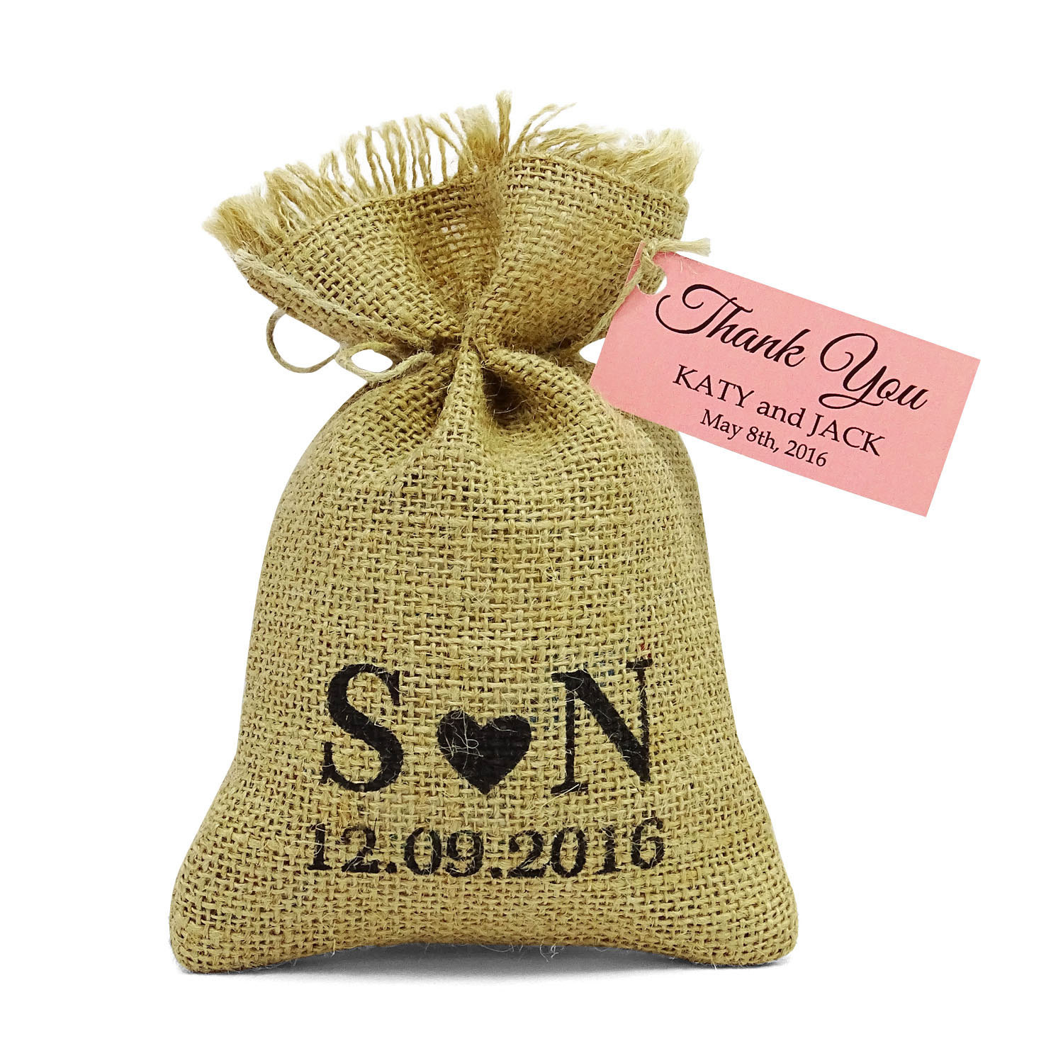 Charming wedding jute drawstring pouch bag with custom tags