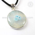 Shiny round shape pendant solar quartz gemstone 925 sterling silver pendants jewellery wholesalers