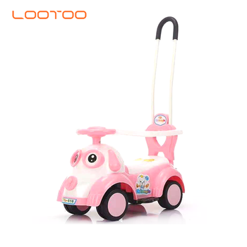 New year gift oem plastic cheap foot to floor in slide swing mini push toy dluxe pink kids petrol ride on car with roof for baby