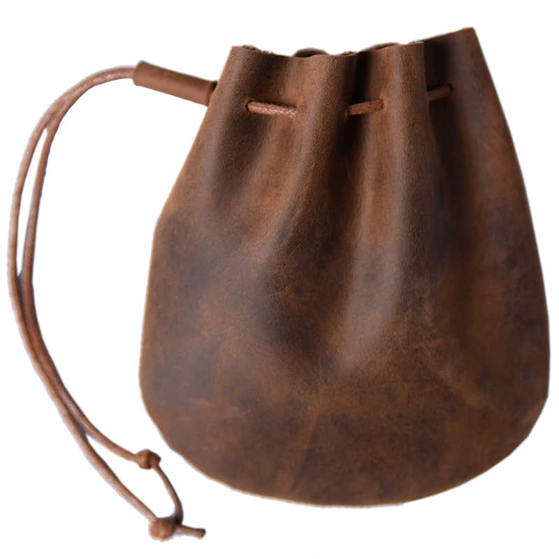 Soft leather drawstring pouch coin purse change handy
