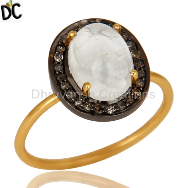 Rainbow Moonstone Pave Diamond Ring 14k Gold Prong 925 Silver Ring Gemstone Jewelry Supplier