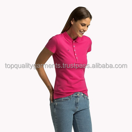 Ladies Girlish POLOs T shirts High Quality Pink Color Customize Print Embroidery Quality 100%Cotton Polyester OEM Wholesale 2018