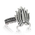 Silver Color Oxidised Lotus Design Traditional Ring