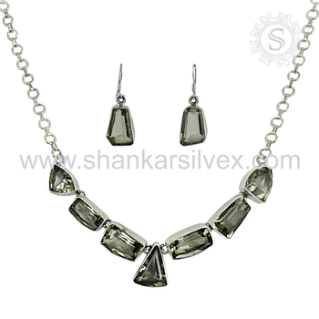 Resplendent green amethyst gemstone jewellery set handmade 925 sterling silver jewelry wholesale online