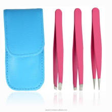 Stainless Steel Precision Tweezers Set Slant Flat Pointed Tip with a Leather Cas