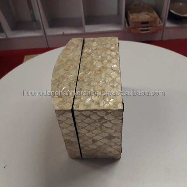 Traditional style storage box, Shiny fish skin covered design lacquer box