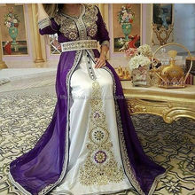 Purple With White Colour And Colour full Hand Work Very Beautiful Stylish Moroccan Kaftan