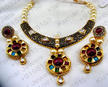 Bridal Wear Light Kundan Multi Color Stone Pearl Beaded Gold Plated 22kt Oxidized Artificial Indian Ethnic Necklace Set